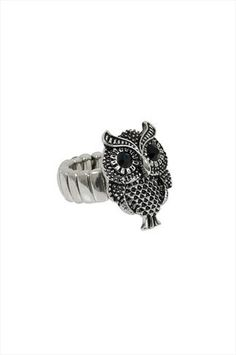 Silver Owl Stretch Ring