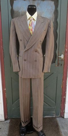 Vintage 1940's1950's Man's 2pc Brown Wool by delilahsdeluxe, $53.50