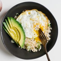 rice bowl with fried egg + avo.