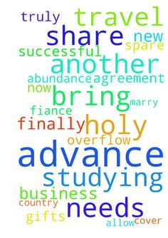 Thank you in advance, for your prayers! Please pray - Thank you in advance, for your prayers! Please pray that my new business will be truly successful from now, and it will bring in abundance to cover all my needs, and overflow to spare and to share, which would allow me to travel to finally be with, and to marry my fiance who is studying in another country. I pray in agreement with you all, and ask these gifts  in Jesus' holy name. Amen. Posted at: https://prayerrequest.com/t/bnp #pray…