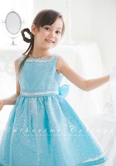 商品番号: CC0286 子供ドレス スクエアネックオーガンジードレス グリーン ピンク ブルー 結婚式 発表会 120-160cm CC0286