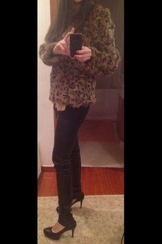 Leather leggings...sky high heals...leopord print fur jacket...❤