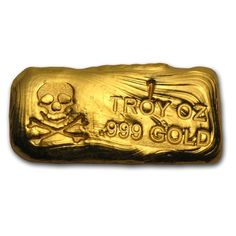 Hand-poured 1 oz gold bar with skull and bones. Gold And Silver Coins, Silver Bars, Silver Ring, Gold Bars For Sale, Gold Bullion Bars, Gold Cost, Silver Investing, Gold Prospecting, Gold Skull