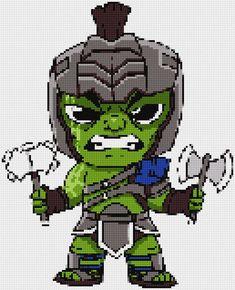 Gladiator Hulk (Thor Ragnarok) Ultimate Chibi cross stitch and plastic canvas