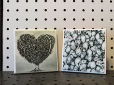 2 Tile Coasters  4 x 4 by UniqueNotFreak on Etsy