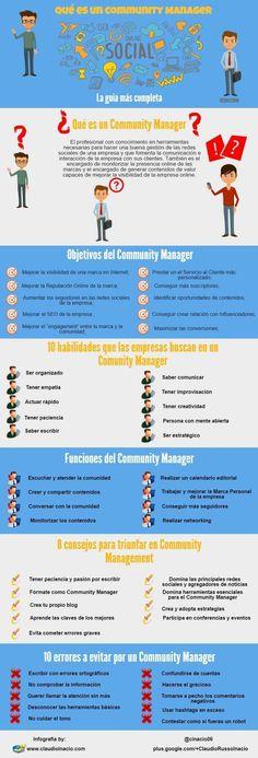 QUÉ ES UN COMMUNITY MANAGER #INFOGRAFIA #INFOGRAPHIC #SOCIALMEDIA