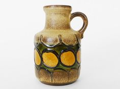 West German Scheurich 47415 Pottery Vase Earth Tones by PopBam.