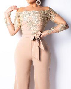 boutiquefeel / Flower Embroidery Off Shoulder Wide Leg Jumpsuit Jumpsuit Dressy, Lace Jumpsuit, Jumpsuit Outfit, Lace Romper, Prom Jumpsuit, Elegant Jumpsuit, Jumpsuits For Women, Evening Dresses, Trendy Outfits