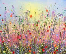 Summertime Love is an original artwork by UK Flower Artist Yvonne Coomber using oil paint on a canvas surface #flowerart #wallart #oilpainting #artforinteriors
