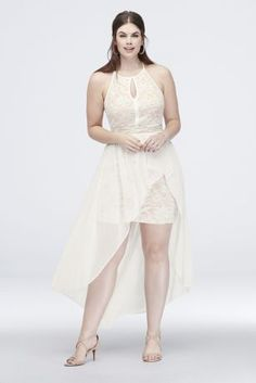 A winning combination of flowy and fitted, this short glitter lace dress features a halter keyhole neckline, a strappy back design, and a chiffon overskirt. By Morgan & Co. Polyester, spandex Back zipper; Plus Size Skater Dress, Skater Style Dress, Curvy Fashion, Plus Size Fashion, Plus Size Formal Dresses, Davids Bridal Dresses, Wedding Dresses, Necklines For Dresses, Little White Dresses