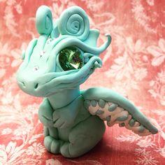 Polymer Clay 'Angel' Mint Fantasy Dragon by AetherCreations.