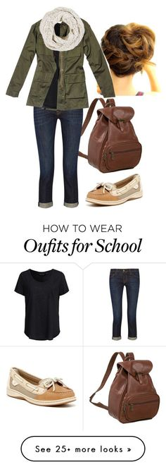 """School Style"" by disneychick14 on Polyvore featuring AmeriLeather, Current/Elliott, New Look, Nili Lotan and Sperry Top-Sider"