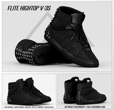 https://flic.kr/p/KEEhp5 | FLITE.- V3S HIGHTOPS | Now Available in the Mainstore.  Slink Male/Female- TMP Male/Female- Belleza - Maitreya Flat/Bare feet compatible. Unrigged size included.  These Come with Sooo many Options 10 Specialty Color ways and 20 staple color options. Main, Laces, Cushion, Sole, Studs all individually changeable.   Get them at the FLite mainstore! maps.secondlife.com/secondlife/Yesterday/68/178/22