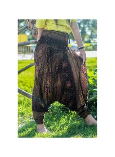 Brown Thai fisherman pants palazzo pants boho pants by Nidnidshop