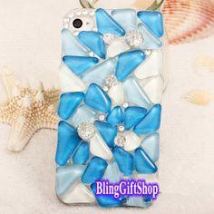 UNIQUE iPhone case,iphone 5s case, beach blue iphone 5 case, ocean iphone 5c case, iphone 4s case, iphone 4 case, bling iphone 5s case