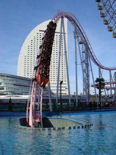 Vanish Roller Coaster at Cosmoworld in Yokohama, Japan