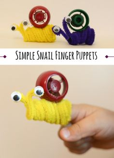 Simple Snail Finger Puppet Craft for toddlers and preschoolers. This would be a good activity to go along with books for play.