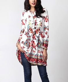 Loving this White & Red Peacock Button-Front Shift Tunic on #zulily! #zulilyfinds