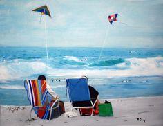 Flying Kites, Kite Flying, Kites Cometas, Beach Painting, Cometas Papalotes, Fly A Kite, Kites Paintings