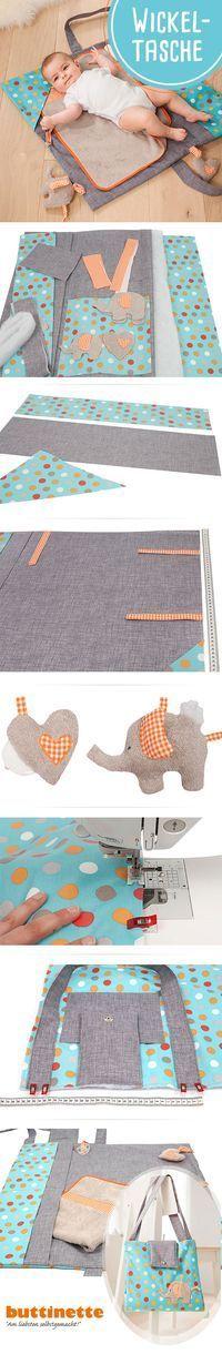 Nähanleitung für eine Wickeltasche mit Loxx-Verschluss. #Nähen #Baby #DIY #Wickeltasche #Anleitung #Schnittmuster