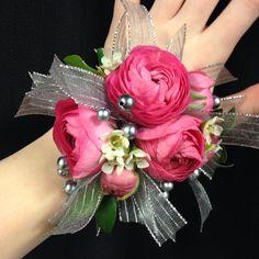 Pink ranunculus wrist corsage