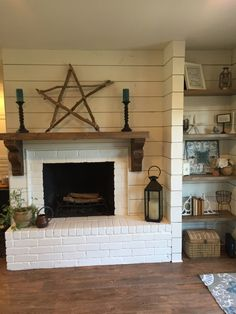Floors – Vinyl plank Van Gogh Hessian Oak by Karndean / Shiplap and fireplace paint – Sherwin Williams Alabaster / Custom shelves and mantel – Minwax stain: Special Walnut and Classic Grey