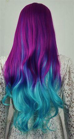 magenta blue turquoise hair