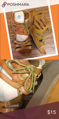 French Blu, camel sandals genthly warn. Beautiful sandals size 7 but feet true 7.5 French Blu Shoes Sandals