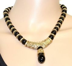 Vintage Couture Etruscan Revival Black Lucite Segmented Beaded Choker Necklace