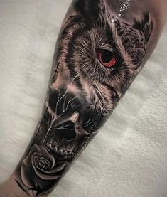 Owl, Skull & Rose Owl morphed with a skull & rose, done on guy's forearm by Harrison Daniel, an artist based in Perth, Australia. Animal Skull Tattoos, Skull Rose Tattoos, Skull Sleeve Tattoos, Rose Tattoos For Men, Best Sleeve Tattoos, Tattoo Sleeve Designs, Tattoo Designs Men, Cool Tattoos, Animal Tattoos For Men