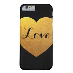 #simple - #Personalized Black and Gold Heart Barely There iPhone 6 Case