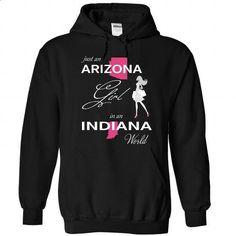 ARIZONA GIRL IN INDIANA WORLD - #awesome hoodie #sweatshirt quotes. SIMILAR ITEMS => https://www.sunfrog.com/LifeStyle/ARIZONA_INDIANA-Black-Hoodie.html?68278