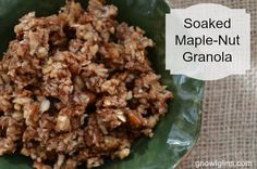 Do you like granola but find many store-bought (and even homemade) varieties include ingredients you'd rather avoid? If so, I think you'll enjoy this soaked maple-nut granola. It's grain-free, uses nourishing ingredients, is packed with nuts, and is bursting with flavor. http://gnowfglins.com/2013/10/03/soaked-maple-nut-granola/