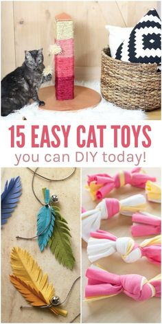 Spoil your favorite feline with a few of these easy DIY cat toys. You don't have to be super crafty -- you can find something to make for your cat TODAY! via Rachel {1Crazy House Tips}