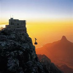 Table Mountain's cable car at sunset.