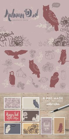 Autumn Owl Graphics Pack by DesignsByMissM on Creative Market. Lovely sunflowers, delicate branches, cute woodland owls, and plump pumpkins—this graphics set has it all! Great for adding a fall touch and a hand drawn look to a design.