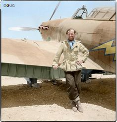 """""""Top shot (but looks colorised)"""" KB Fl.Lt. Dudley S.G. Honor, Nº 274 Squadron RAF poses by a Hawker Hurricane of the squadron at Gerawala, Egypt, on rejoining his unit following his rescue. On the afternoon of 25th May 1941"""
