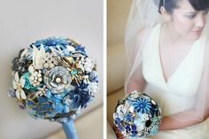 The Ritzy Rose Brooch Bouquet - Blue and Ivory