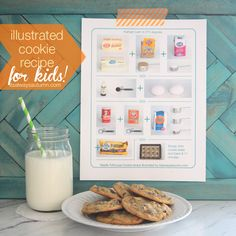 it's always autumn - tollhouse cookie recipe printable for kids {illustrated w/photos} (for teaching fractions) Indoor Activities For Kids, Crafts For Kids, Kid Activites, Fun Activities, Easy Crafts, Pavlova, Baked Cake Mix Donut Recipe, Tollhouse Cookie Recipe, Cookie Recipes For Kids