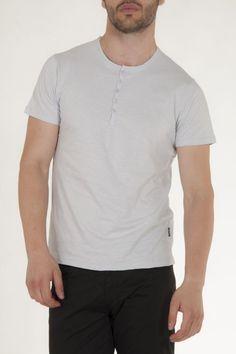 Κοντομάνικη μπλούζα γκρι με κουμπιά στην λαιμολοψη αντρικό sorbino