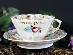 Antique Cups and Saucers, China Teacups, Hand Painted Tea Cups 13240 - The Vintage Teacup - 8