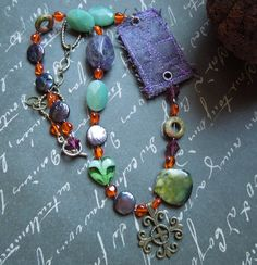 Bohemian Purple Green Orange Necklace with by dwhitecreations, $25.00