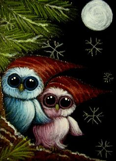 HOLIDAY BABY OWLS WITH RED HATS & SNOWFLAKES Cyra R. Cancel