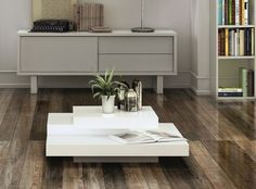 Coffee Table Glossy White Range Low Side A Foot