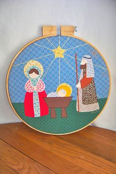 Vintage Christmas Decor Nativity Scene Quilted by RamshackleVilla, $23.00