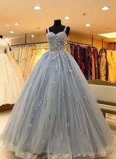 Princess Tulle Blue Appliques Quinceanera Dresses, Elegant Blue Straps Ball Gown Prom Dresses by fan Blue Lace Prom Dress, Pretty Prom Dresses, Plus Size Prom Dresses, Lace Evening Dresses, Prom Dresses Blue, Dress Prom, Formal Dresses, Sweet 16 Dresses Blue, Lace Prom Gown