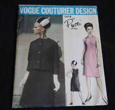 VCD 1418 Pucci of Italy Dress & Jacket 60s Sz10/31/33 19pcs Slightly Shaped Jacket Has Kimono Sleeves.Narrow, Sleeveless Dress is Semi-Fitted & has a High,Curved Yoke-Deep Slash Detail at Back of Neckline...c/c sld 18+3.8 bin 8/19/17