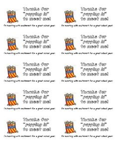 Print these little notes on labels (5163) or print them on cardstock.  Attach to bags of microwaveable popcorn for a memorable back to school night...