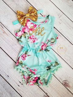 First Birthday Outfit For Girls Mint Pink Gold Floral Pom Pom Romper