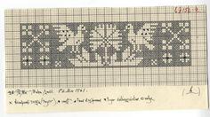 Estonian design, I think. Would make a good bookmark. Filet Crochet Charts, Knitting Charts, Knitting Stitches, Knitting Yarn, Knitting Patterns, Folk Embroidery, Cross Stitch Embroidery, Pattern Library, Pattern Art